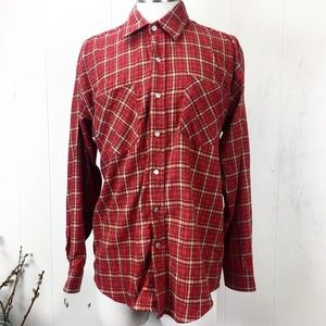 Haband Shirts - Haband Rust Red Western Plaid Flannel